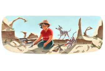 Google doodle celebrates 100th birthday of British archaeologist Mary Leaky