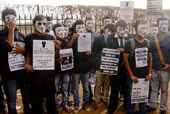 Anonymous Operation India protest at Azad Maidan, Mumbai